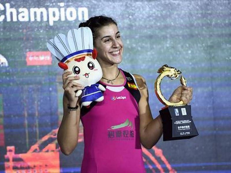 Carolina Marin with the China Open trophy in 2019