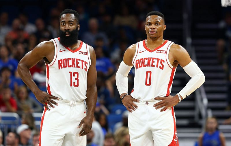 Teammates James Harden (left) and Russell Westbrook