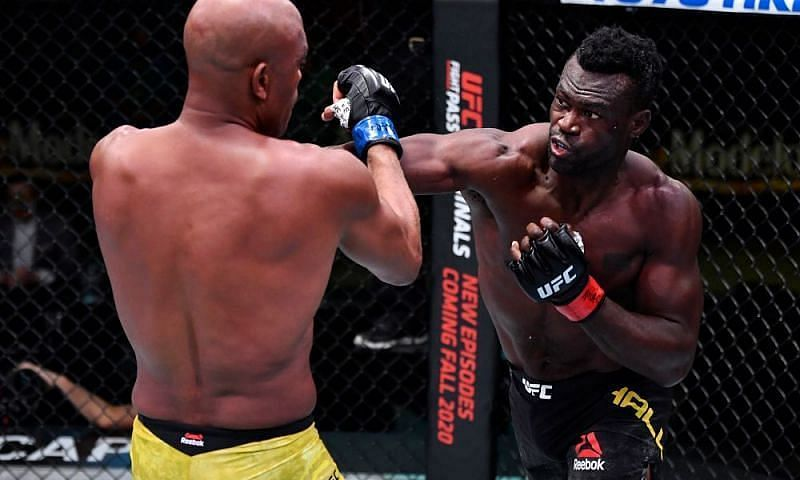 Uriah Hall on his way to a TKO finish against Anderson Silva