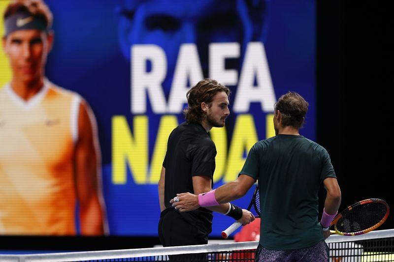 Rafael Nadal with Stefanos Tsitsipas at the Nitto ATP Finals