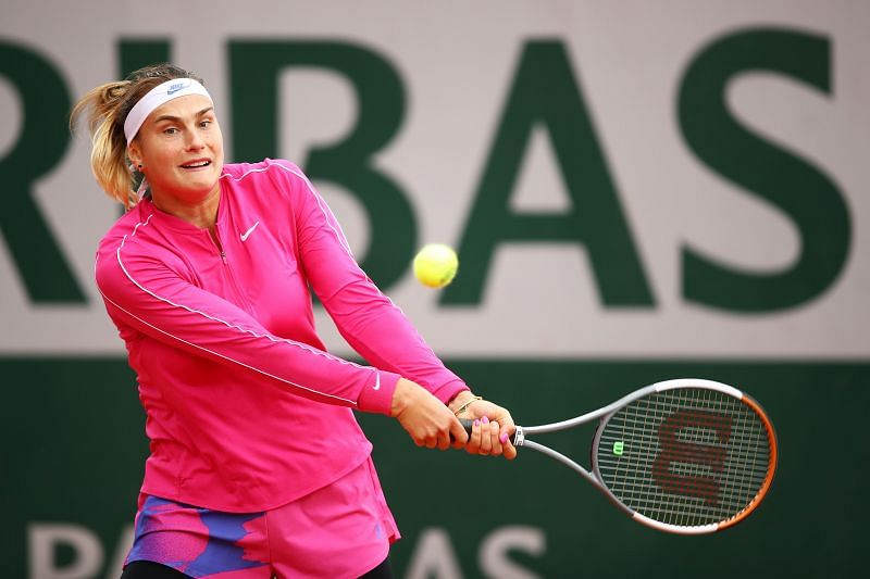 Aryna Sabalenka in action at the 2020 French Open
