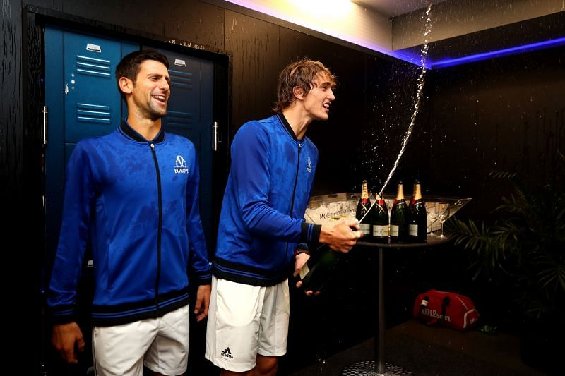 Novak Djokovic (L) and Alexander Zverev