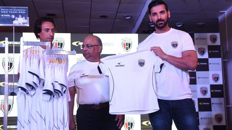 John Abraham during the jersey launch of NorthEast United FC in Season 4