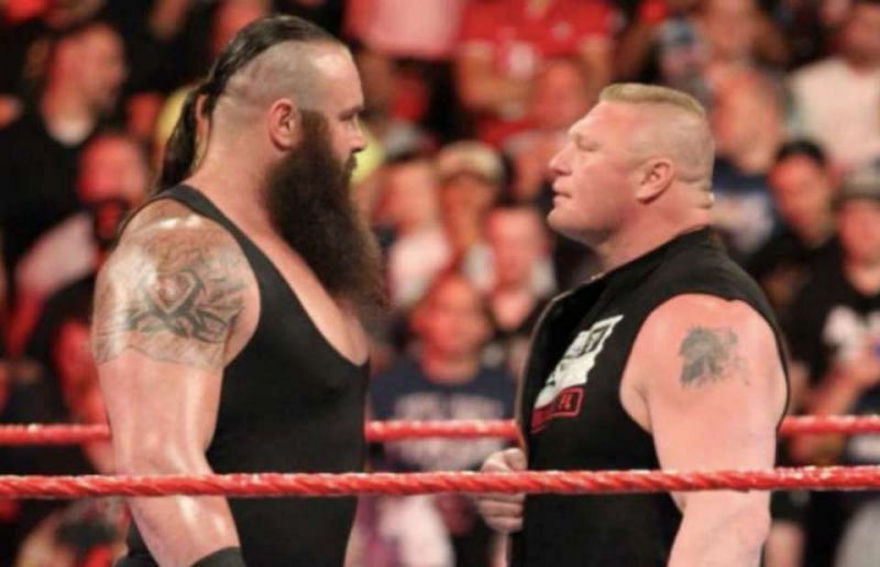 Brock Lesnar and Braun Strowman face off in the WWE ring