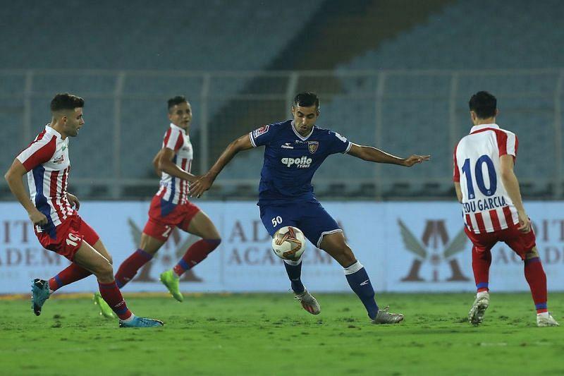 Rafael Crivellaro in action for Chennaiyin FC against ATK in the 2019-20 season of ISL