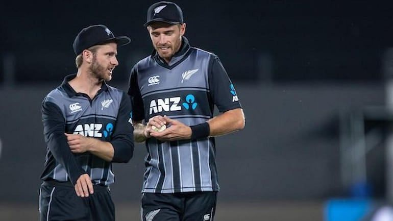Tim Southee(R) will lead the T20I squad for the first two matches in Kane Williamson