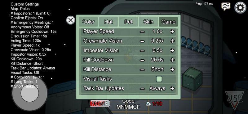In-game settings format