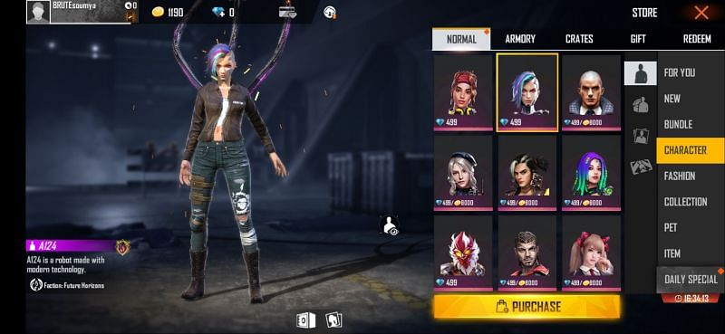 A124 in Free Fire
