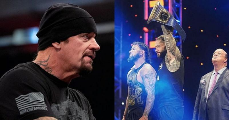 The Undertaker, Jey Uso, Roman Reigns, and Paul Heyman.