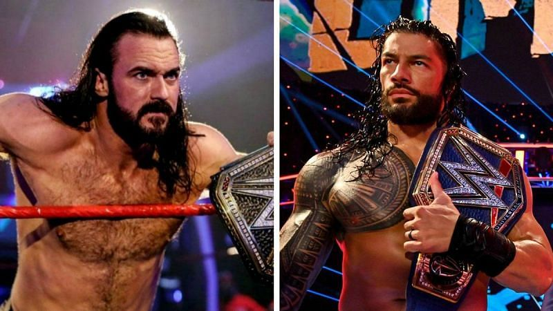 Drew McIntyre and Roman Reigns prepare to face off