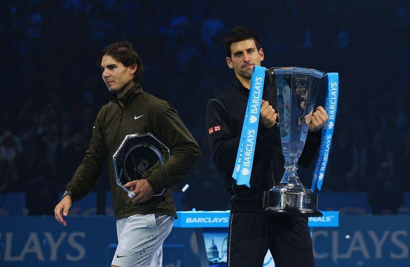 Rafael Nadal (L) and Novak Djokovic at the 2013 ATP Finals