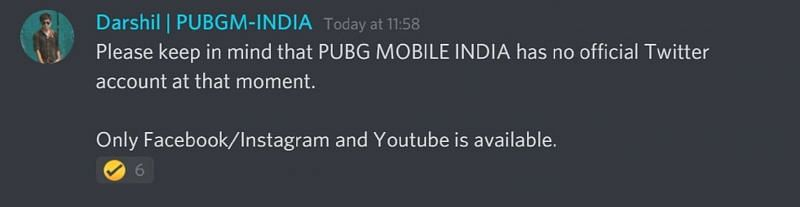 The message posted on the official Discord server