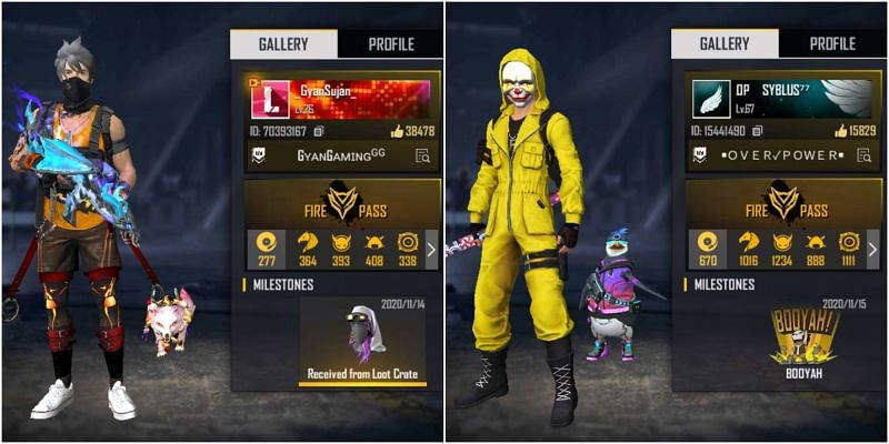 Free Fire IDs of both Gyan Sujan and Syblus