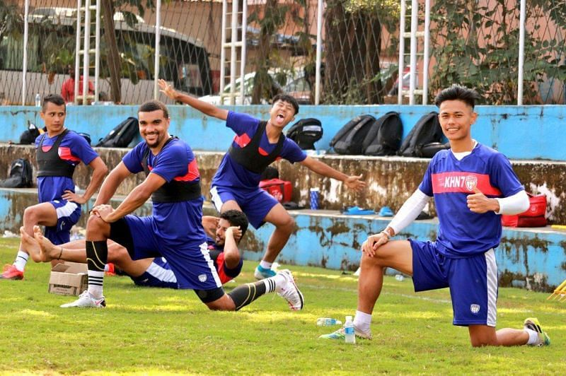 NorthEast United FC players in training