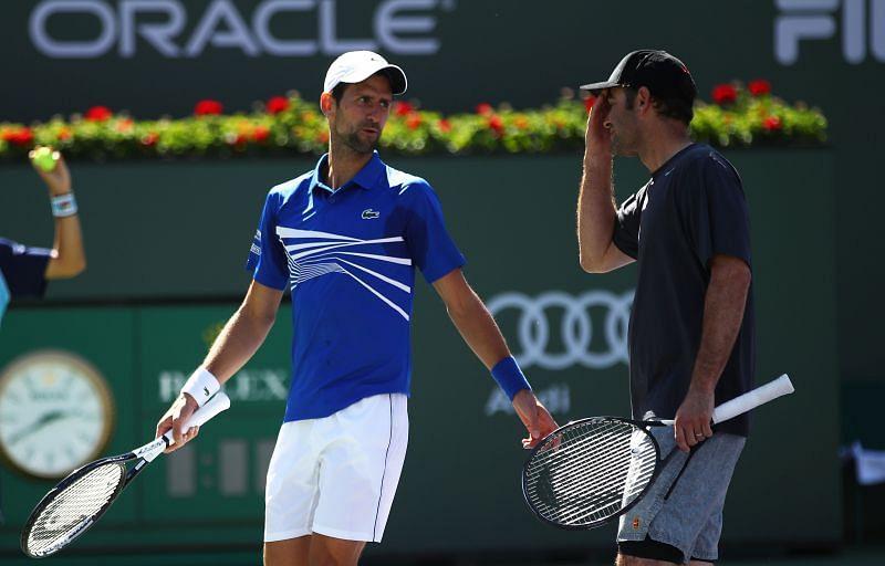 Novak Djokovic (L) and Pete Sampras