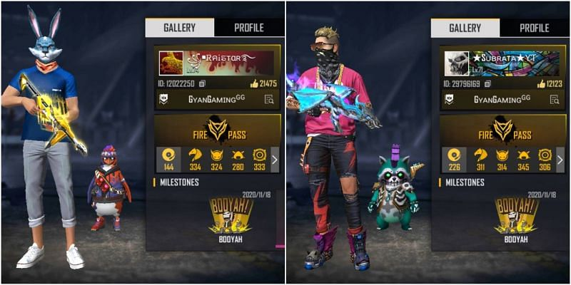 The Free Fire IDs of both Raistar and Gaming Subrata