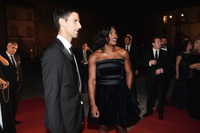 Novak Djokovic with Serena Williams at the Milano Gala Dinner in 2016