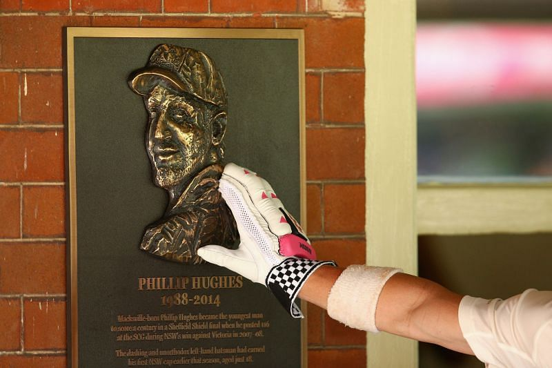 A bronze memorial of Phil Hughes in Australia