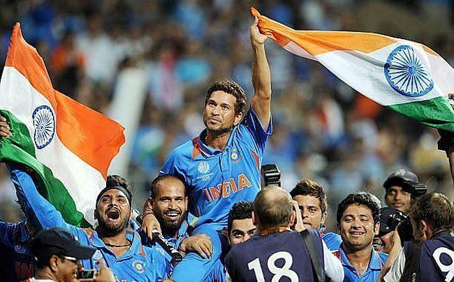 Sachin Tendulkar after winning the 2011 World Cup