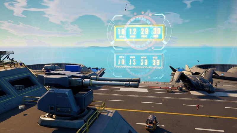 The Event countdown is also available on the helicarrier (Image via Fortnite)