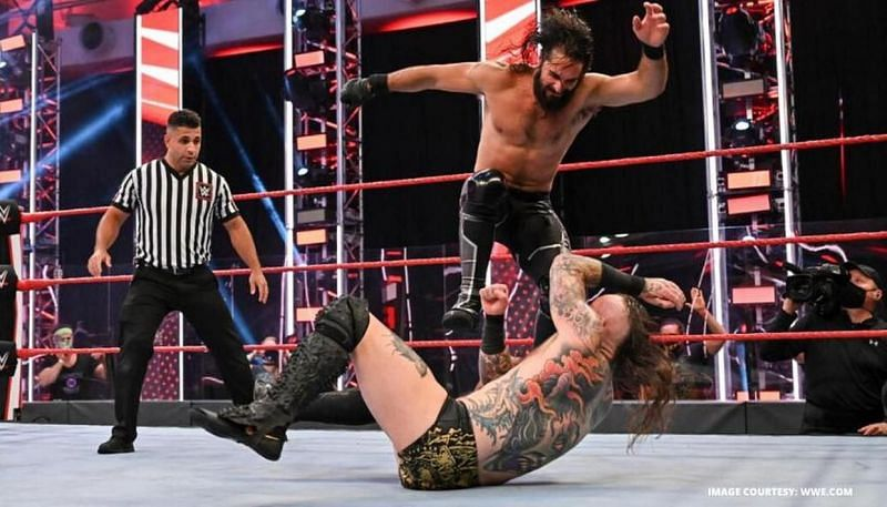 Seth Rollins got the better of Aleister Black in a wrestling match in July.