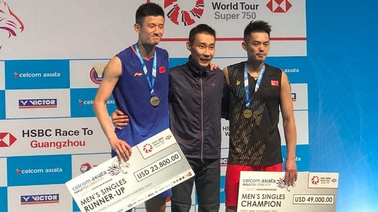 (From left) Chen Long, Lee Chong Wei and Lin Dan at the presentation ceremony of Malaysia Open 2019