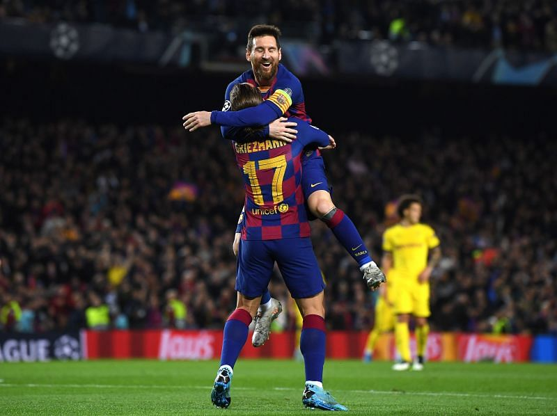 Messi celebrating a goal with Griezmann