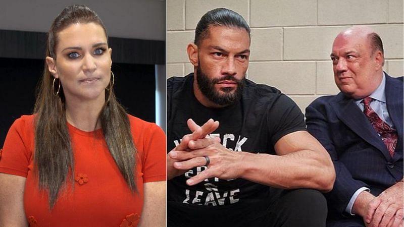 Stephanie McMahon (left); Roman Reigns and Paul Heyman (right)
