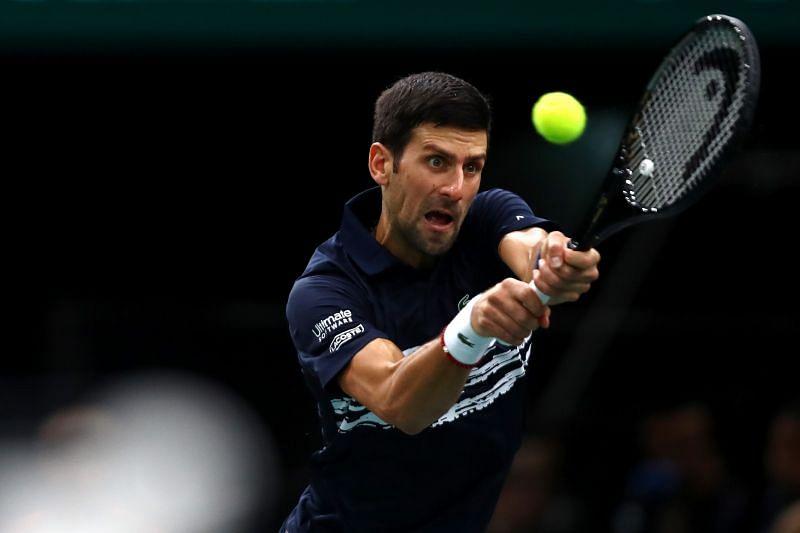 Novak Djokovic at the 2019 Rolex Paris Masters
