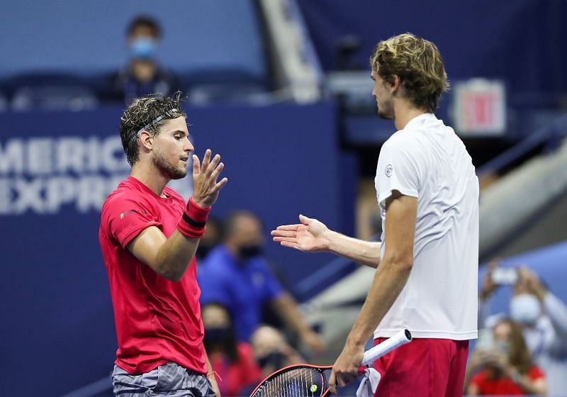 Dominic Thiem and Alexander Zverev at the 2020 US Open