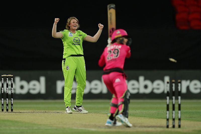 Sammy Jo-Johnson celebrates after picking up a wicket.