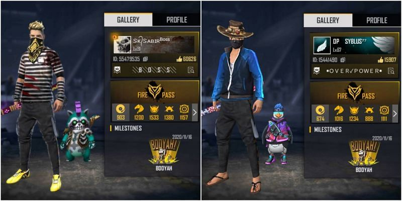 Free Fire IDs of both SK Sabir Boss and Syblus