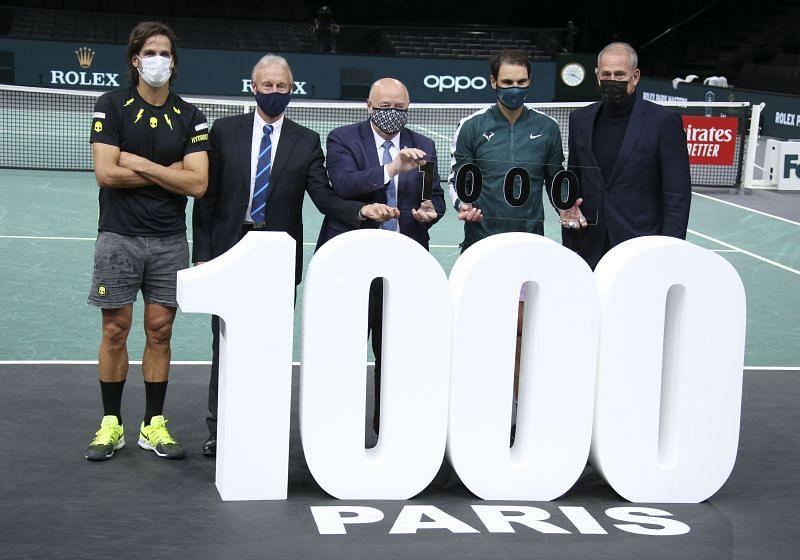 Rafael Nadal celebrating his 1000th win at the Paris Masters 2020