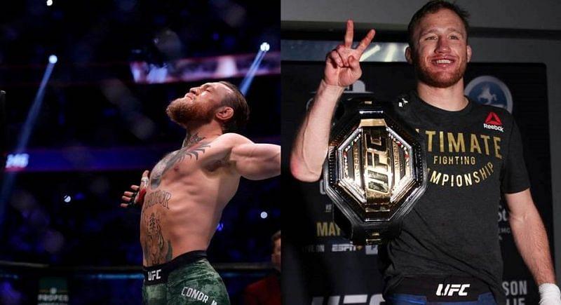 Conor McGregor (left); Justin Gaethje (right)