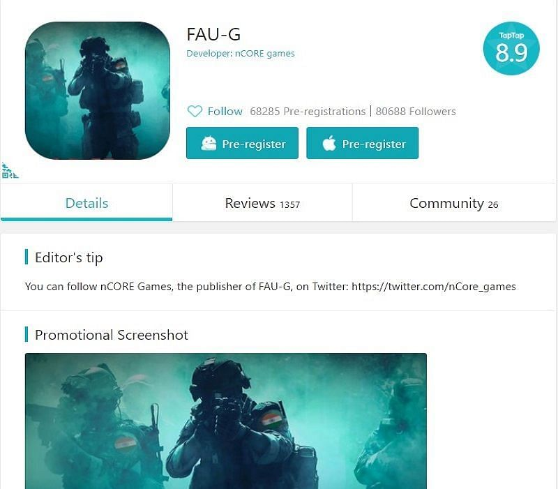 FAU-G pre-registrations on TapTap