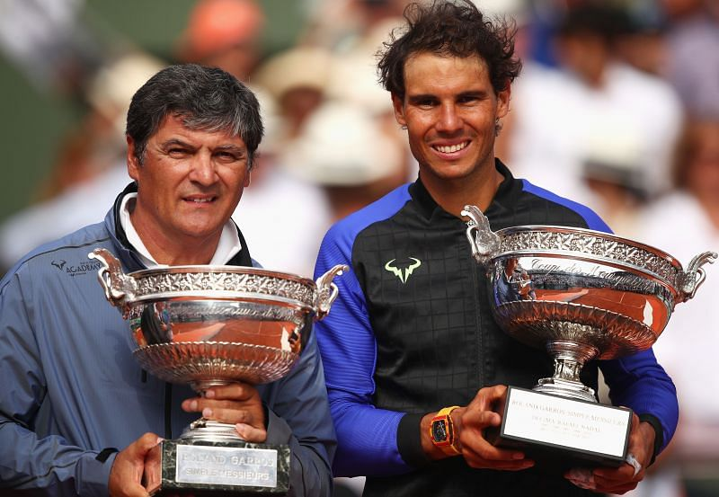 Toni (L) and Rafael Nadal at the 2017 French Open