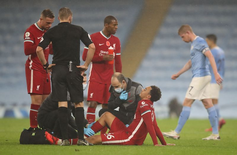 Trent Alexander-Arnold was forced off the pitch in the second half.