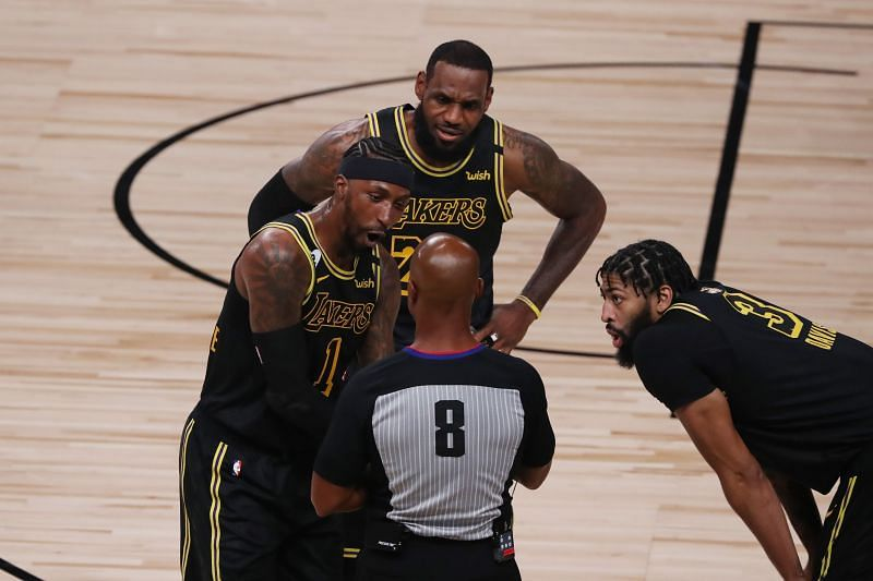 Kentavious Caldwell-Pope (left) with his LA Lakers teammates LeBron James (center) and Anthony Davis. (right)