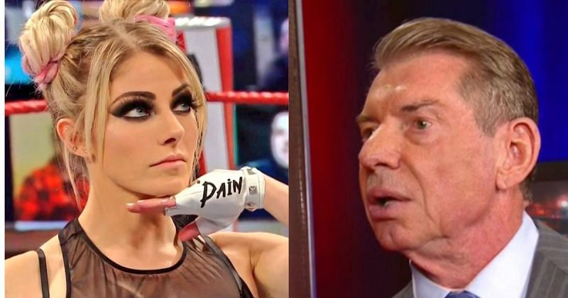Alexa Bliss and Vince McMahon.