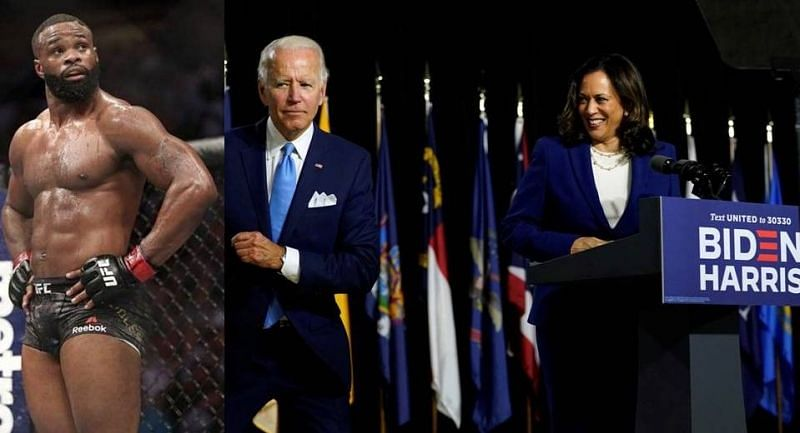 Tyron Woodley (left); Joe Biden (center); Kamala Harris (right)