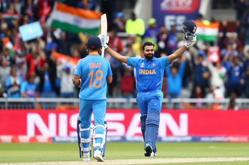 Rohit Sharma and Virat Kohli in action during the 2019 World Cup