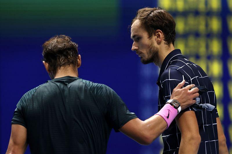 Rafael Nadal (L) and Daniil Medvedev at the Nitto ATP Finals 2020