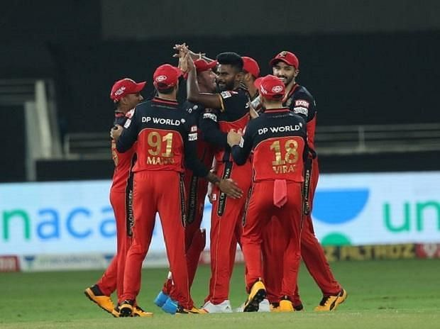 RCB players celebrate during their IPL game