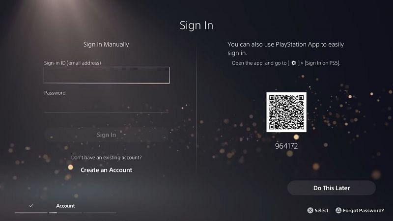 Sign-in Menu in PS5 screengrab (Image Credits: PlayStation Support)