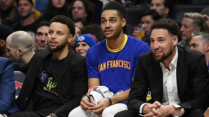 Stephen Curry, Jordon Poole and Klay Thompson