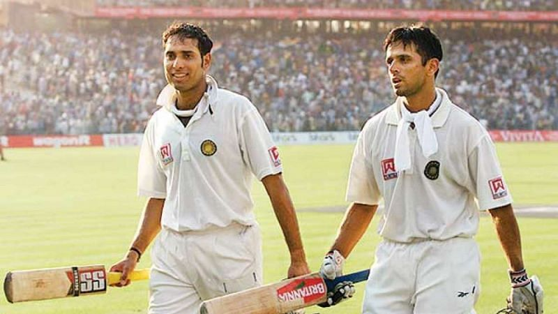 A victorious VVS Laxman and Rahul Dravid after decimating the Australian bowling attack