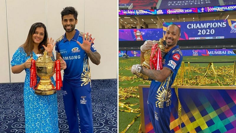 Suryakumar Yadav celebrated the IPL 2020 title win with his wife; Hardik Pandya poses with the trophy in his hands (Image Courtesy: Instagram)
