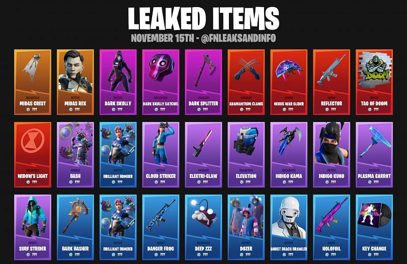 Leaked Cosmetics in Fortnite (Image via FNLeaksAndInfo)