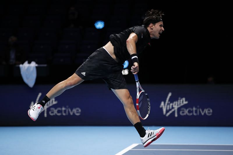 Dominic Thiem serves at the ATP Finals