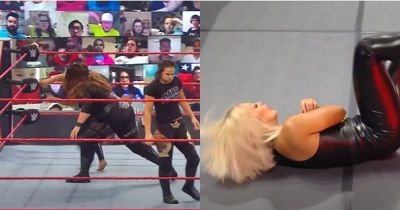 Nia Jax threw Mandy Rose out of the ring.